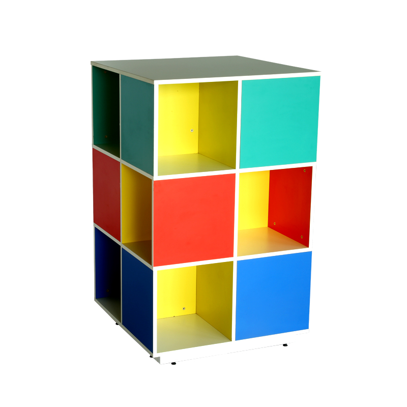 Multicolour 4 sides storage with 3 closed. 3 open racks with access from all sides