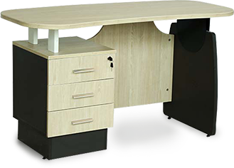 Wooden single office table with 3 lockable drawers in grey and nottingham shade