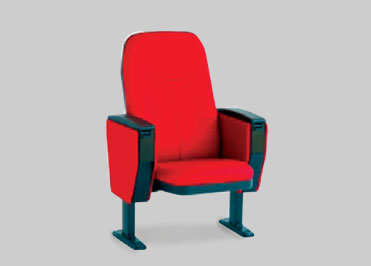 Red colour auditorium chair with a provison for floor grounding and comfortable foam seat and back resting.