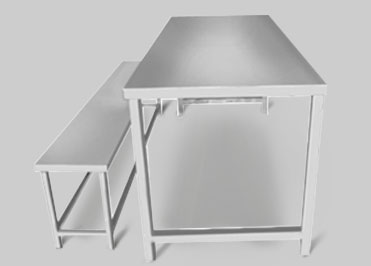School canteen table and bench in stainless steel