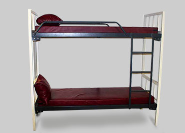 metal bunk beds for hostels with One lower bed & one upper bed with safety guard at both sides and with ladder