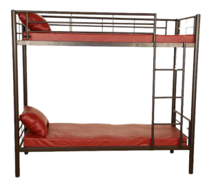 Dual colour twin bunker cot with safety guard and ladder