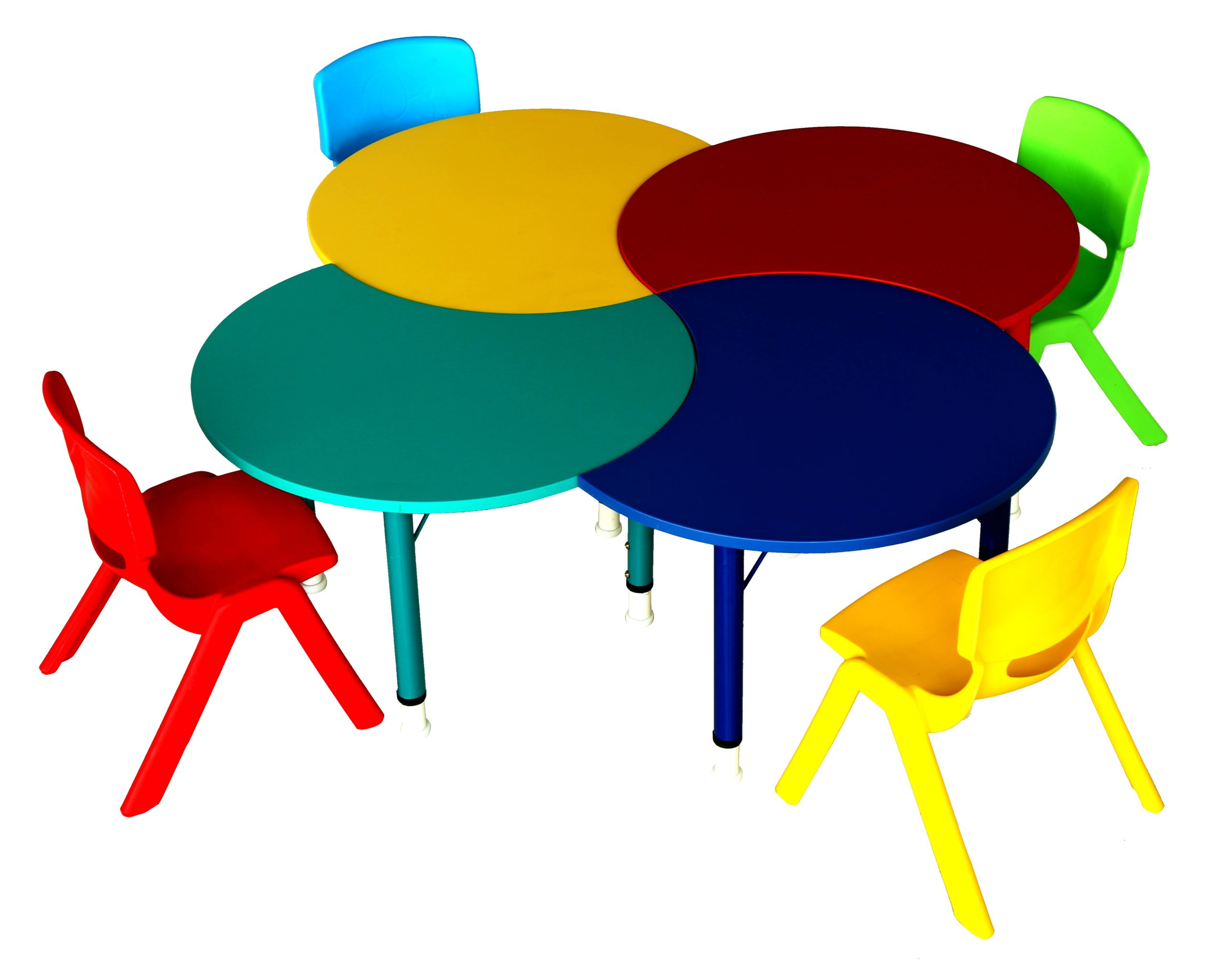 Multicolour quartette height adjustable kindergarten table with 4 multi-color chairs