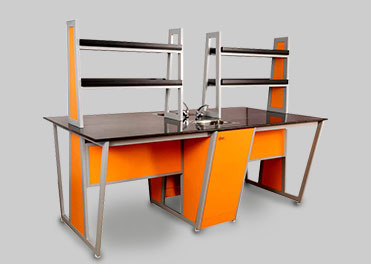 School lab table with switch boxes and amp sockets manufactured by Inspace school furniture