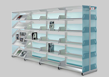 wall side and back to back shelving library book rack for schools.