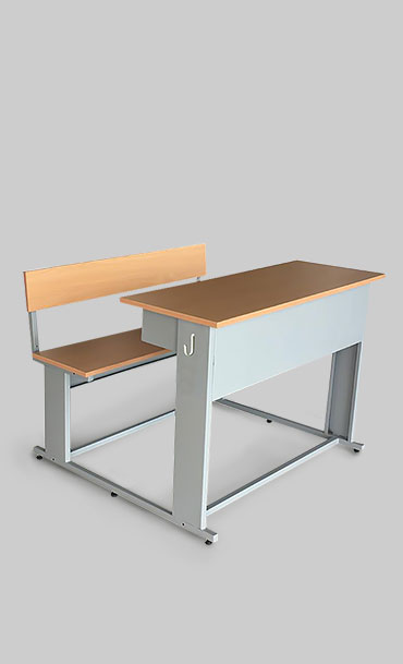 Classroom desk with attached bench with a laminated desk top