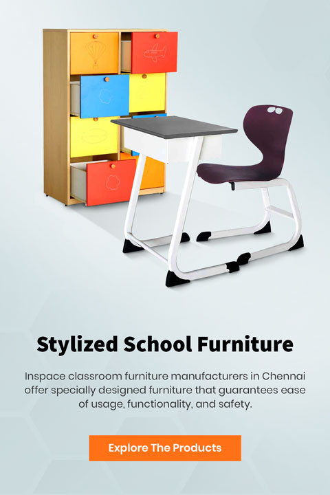 School furniture banner, with a writing chair and desk and a multicolour storage cabinet