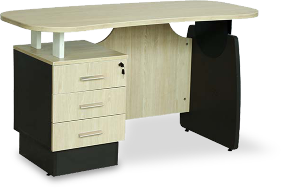 Elegant wooden single office table with 3 lockable drawers.