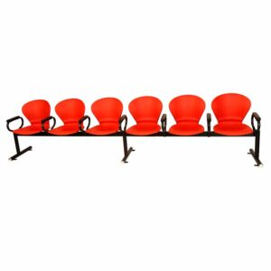 A set of 6 moulded nylon chairs in red colour with common armrests for auditorium seating