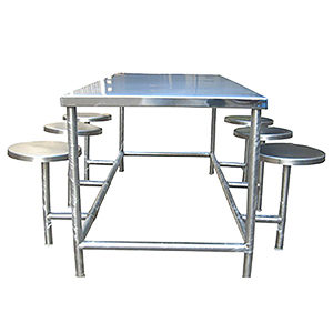 Six seater stainless steel school canteen furniture with rectangular table and round top steel stool seating