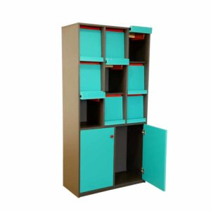 Library shelf with 9 sliding doors at upper side and double door single rack at the bottom with swing type door