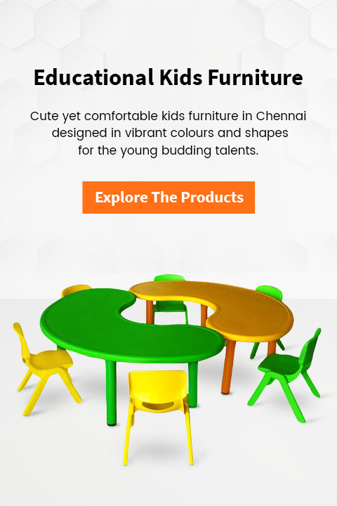 Kids furniture banner with bean shaped preschool desks in yellow and green colour