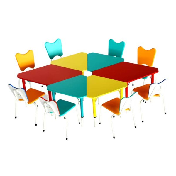 Multicolor Preschool KG Table With Chairs
