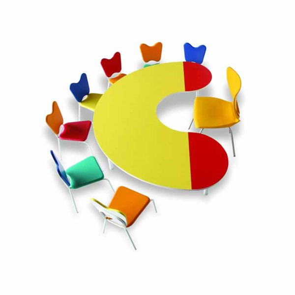 Bean shaped kindergarten table in yellow and red with 6 multi-color student chairs and one teacher chair in yellow color