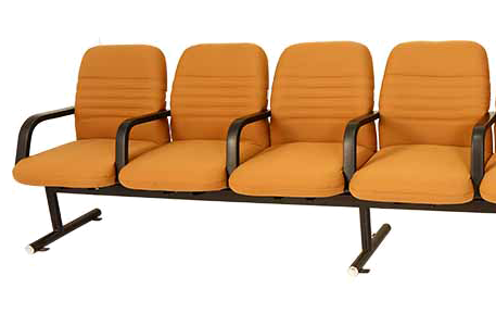 A set of 4 fabric/leatherlite cushioned auditorium chairs with floor grounding provision