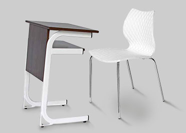 School desk with a brown laminated top and understructure for storage and white chair