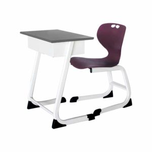 Elegant single seater school chair and desk with book rack understructure