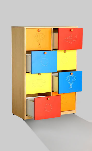 multi-color storage furniture that has 8 pull-out drawers with handle