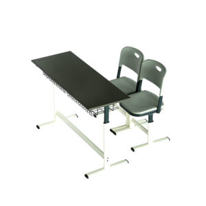 Two seater classroom bench and chair on white background