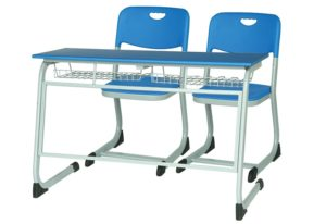 Rectangular desk with an understructure rack and 2 stylish chairs in blue and grey colour combination