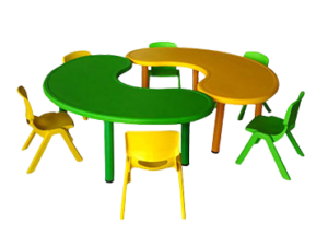 Bean shaped multicolor preschool table and chairs