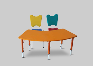 Kindergarten front round table with two chairs