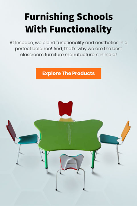 Free form Kindergarten classroom green colour table with four chairs