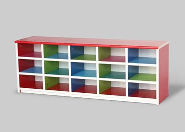 Multicolor school classroom storage shelves