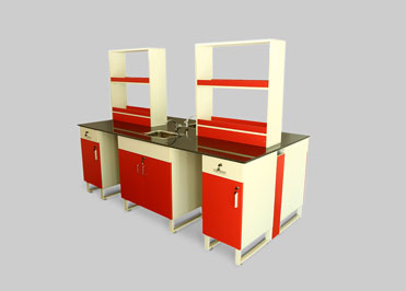 Red color school chemistry Laboratory table with sink