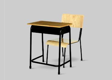 single seater wooden school bench