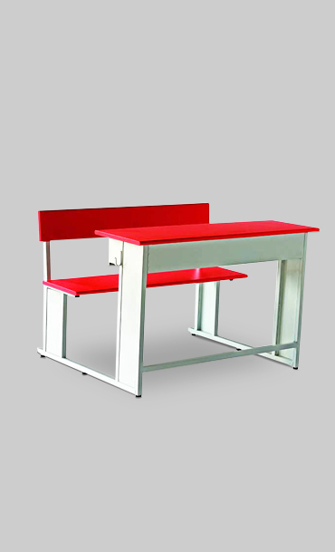Red color two seater school desk with attached bench