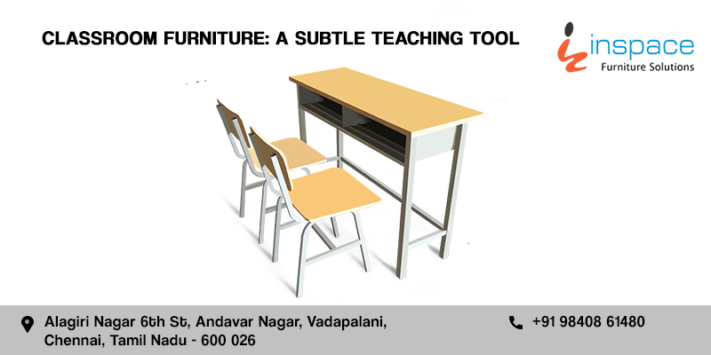 School classroom furniture single desk with two chairs